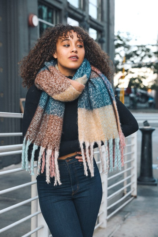 Pink & Brown Tassel Scarf