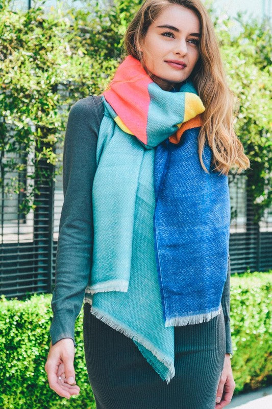 Neon Color Block Scarf