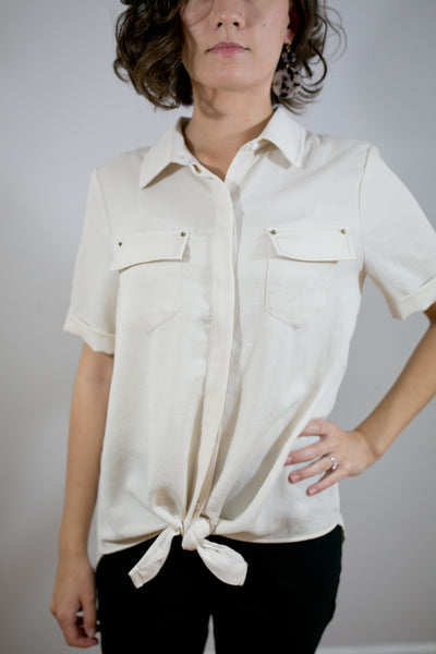 Tie Front Button Up Blouse