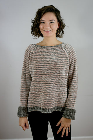 Pink & Grey Stripe Chenille Sweater