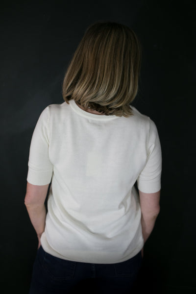 white lightweight sweater for work
