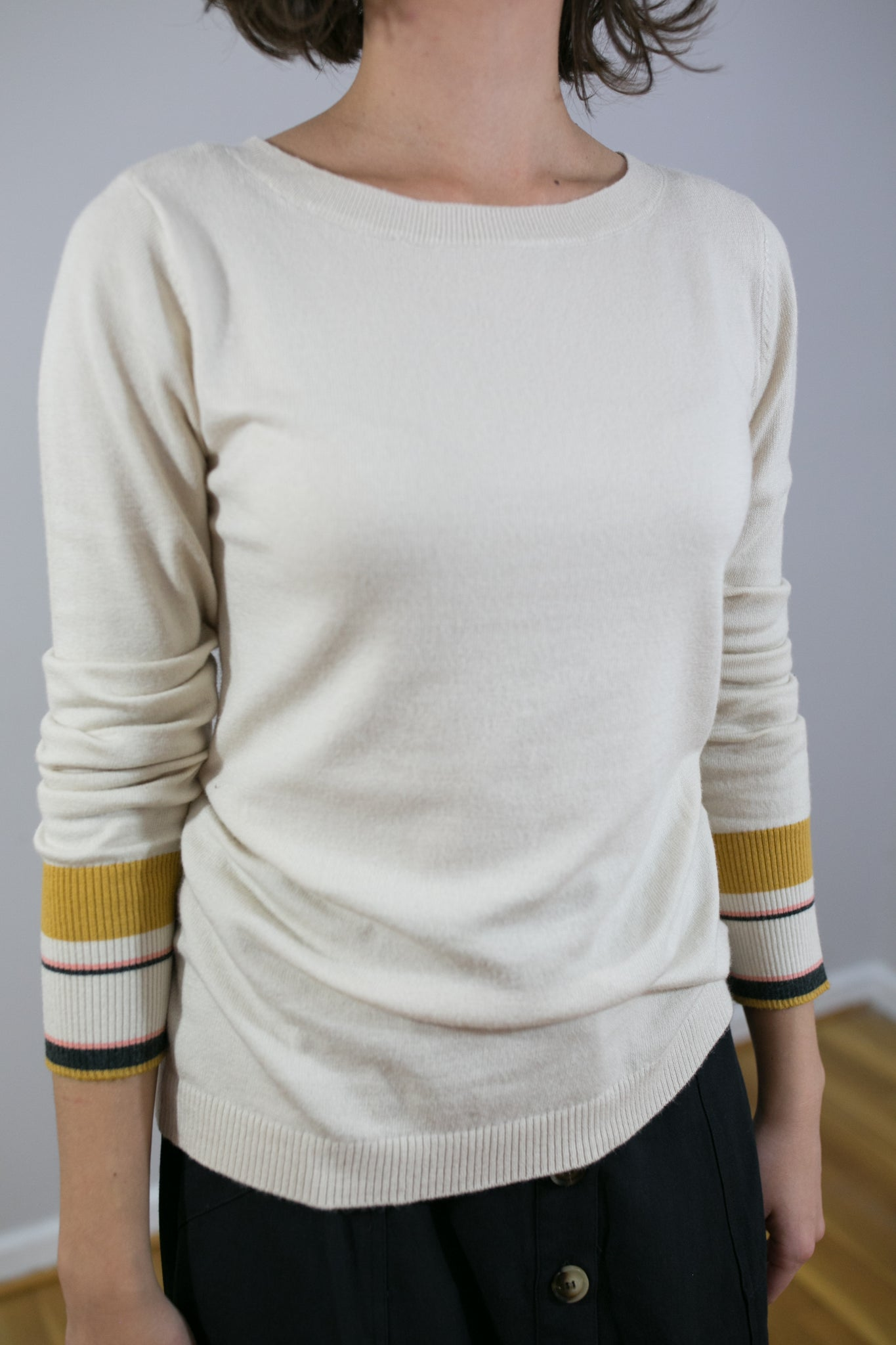 Wide Neck Cream Sweater with Stripe Accents