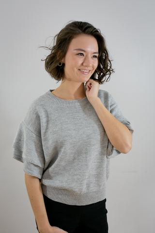 Ruffle Short Sleeve Sweater - Grey