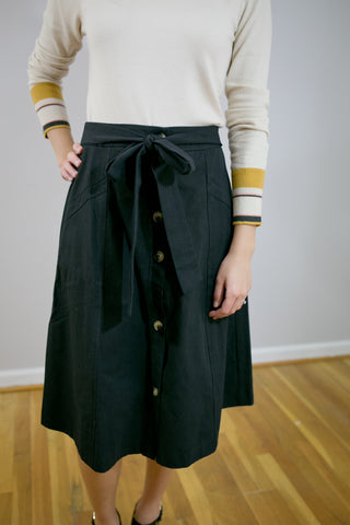 Tie Front Button-Down Midi Skirt