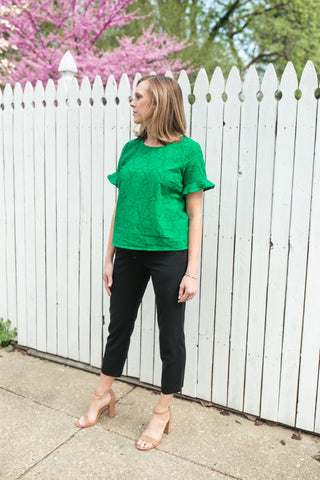 Claire Embroidered Green Top