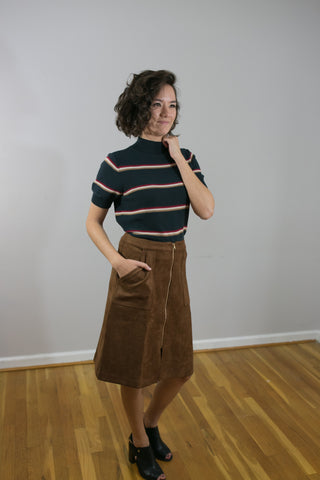 Faux Suede Zipper Front Midi Skirt