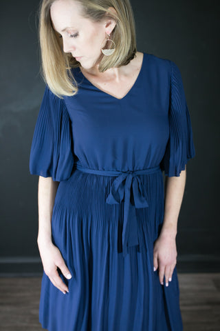 Kimber Navy Pleated Dress
