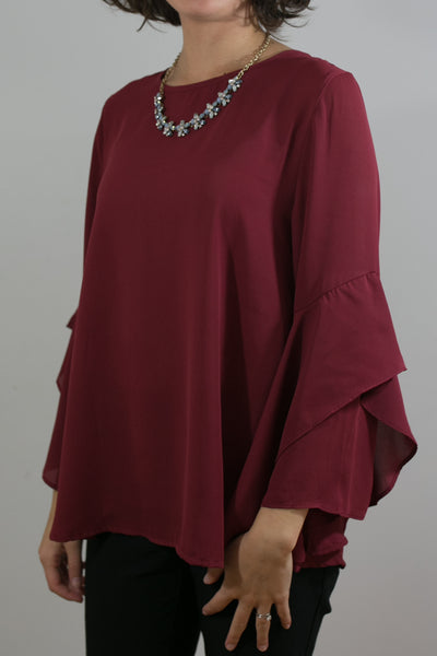 Ruffle Sleeve Flowy Top