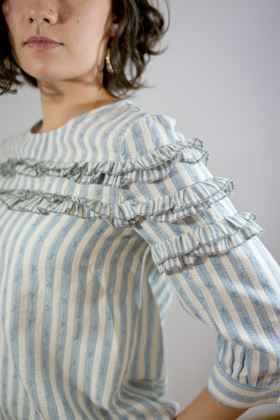 Ruffle Detail Striped Top