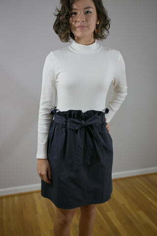 Navy Paper Bag Skirt with Pockets & Belt