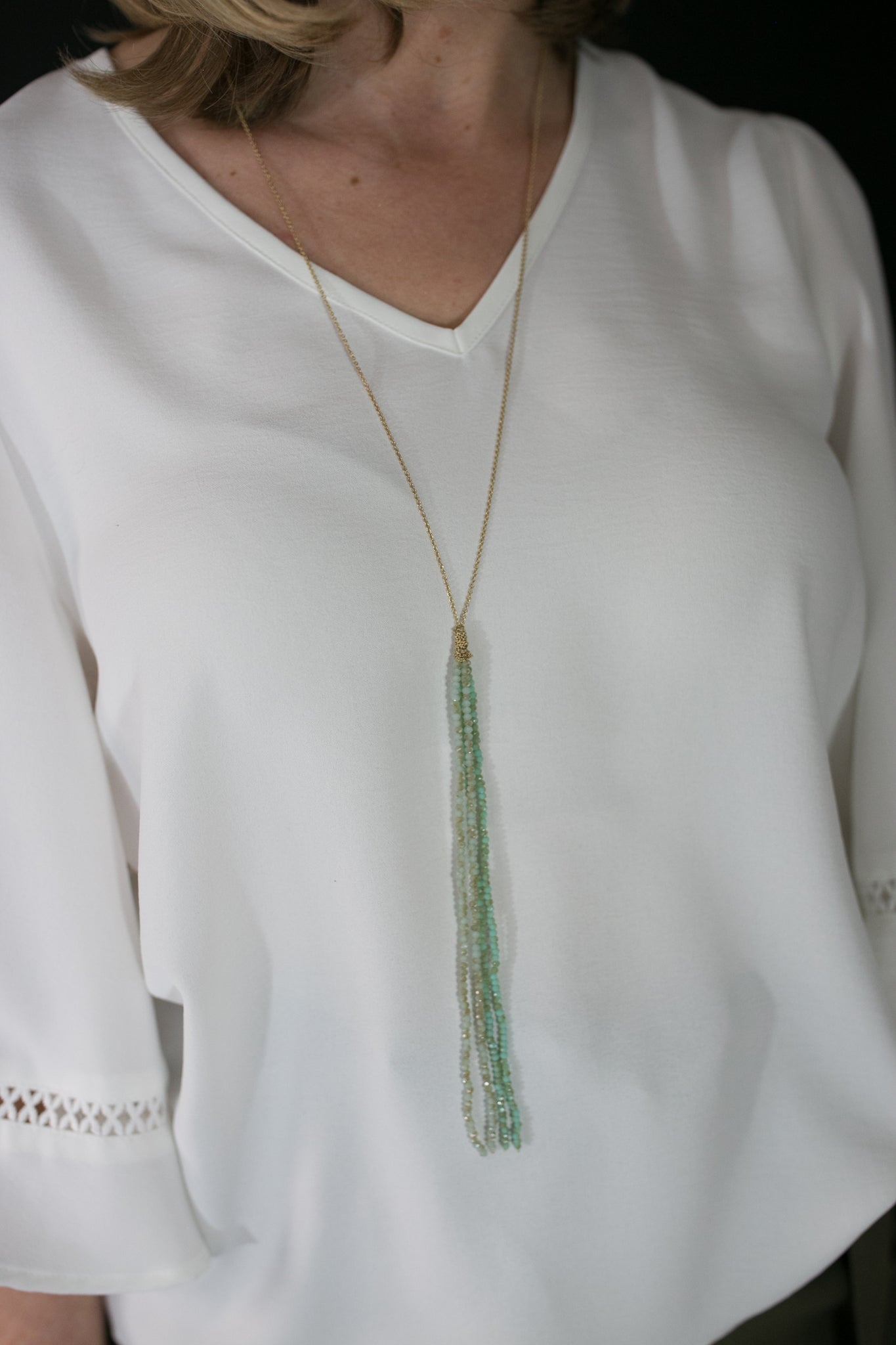 Seafoam Beaded Tassel Necklace