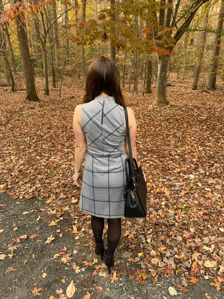 Grey Window Pane Mock Neck Dress