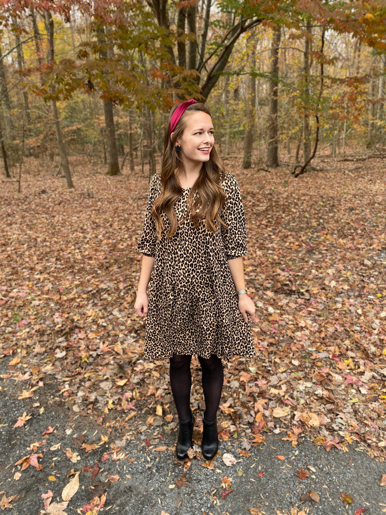 Leopard Puff Sleeve Trapeze Dress