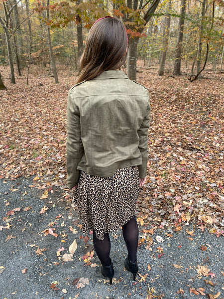 Olive Faux Suede Moto Jacket