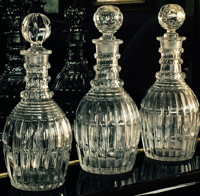 SOLD: Hand-Blown Pittsburgh Glass Decanter Set