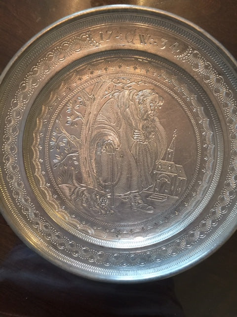 SOLD: 18th Century Engraved German Pewter Plates 4-piece Set