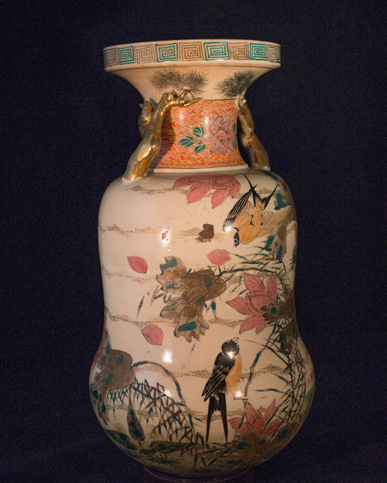 A fine Japanese Meiji period satsuma vase with scenic figural decorations of Spring triumphant over Winter. Features jobitaki (Daurian redstart), Sazanka (camelia) thistles and pine