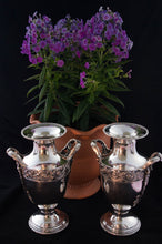 12 inch pair silver plate urns. 9 inch width with handles. www.greenans-cottage.com Virginia, USA