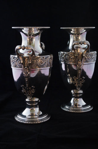 Pair silver plate urns. www.greenans-cottage.com Virginia, USA