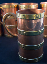 Circa 1890 set of six copper mugs with four bands of brass ear-form handle detail Greenans Cottage decorative arts and antiques Virginia USA
