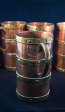 Circa 1890 set of six copper mugs with four bands of brass mug detail Greenans Cottage decorative arts and antiques Virginia USA
