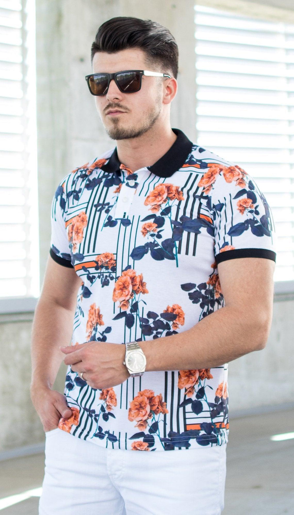 Tricou MFloral Alb/Port - TP03 - street-style-ro