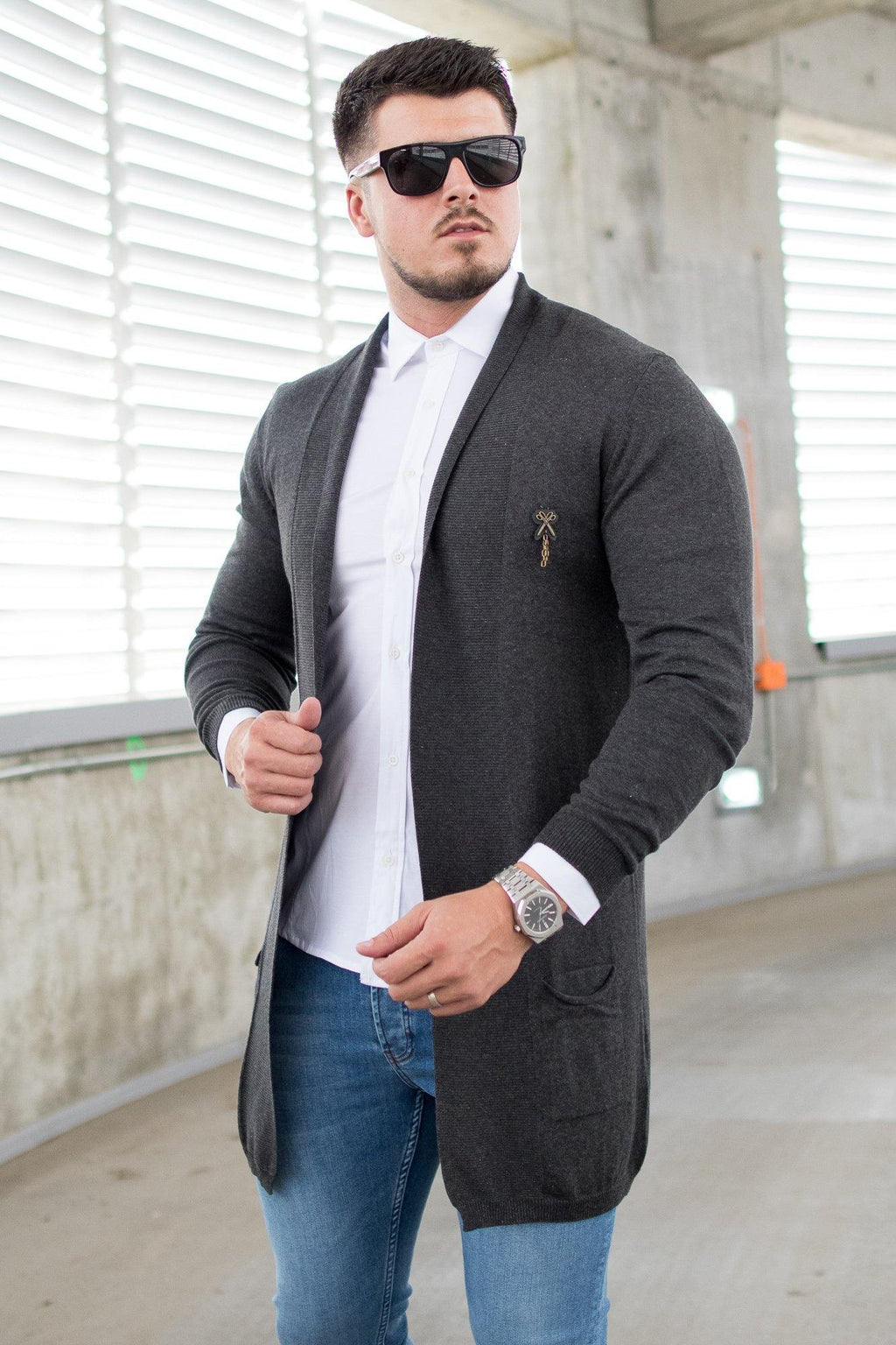 Cardigan Casual - Gri Inchis - street-style-ro