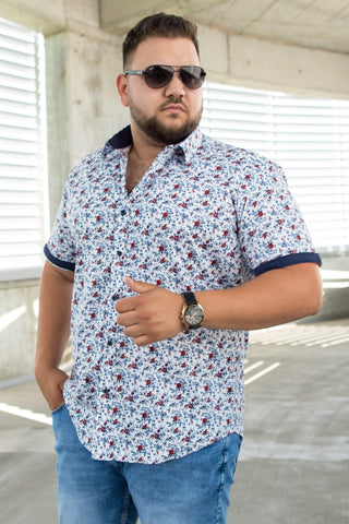 Image of Camasa Plus Size - SC ALB/ROSU CMB08 - street-style-ro