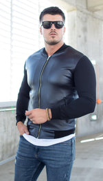 Image of Geaca Subtire Leather Feel - Bleumarin - street-style-ro