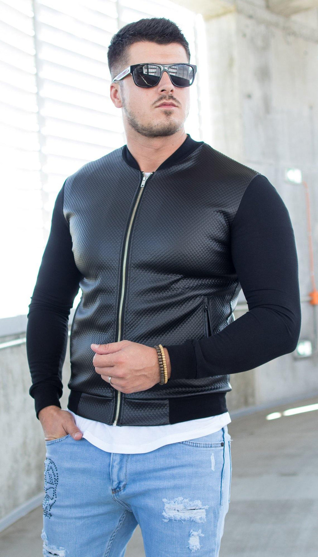 Geaca Subtire Leather Feel - Neagra - street-style-ro