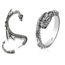 One Dragon Ear Cuff and One Dragon Ring | inspired by Game of Thrones | Ring made of 925 Sterling Silver | Ear Cuff made of high quality Alloy