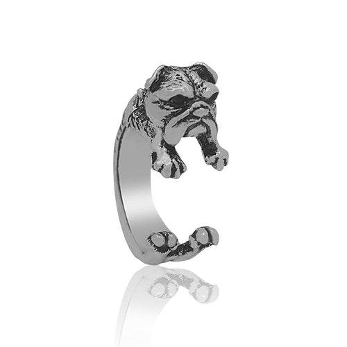 English Bulldog Ring in Silver Tone
