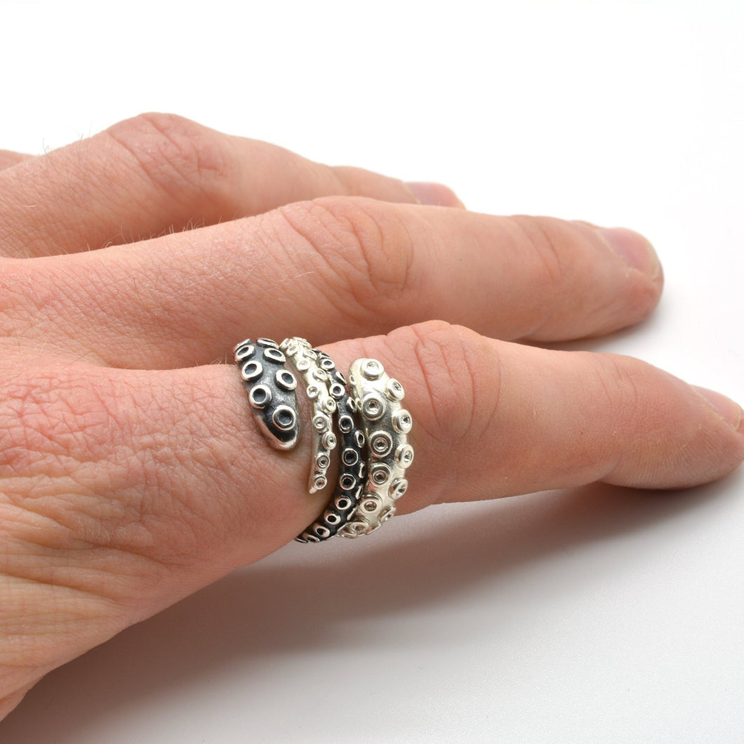 925 Sterling Silver Octopus Ring