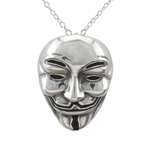 Guy Fawkes Necklace made of authentic 925 Sterling Silver