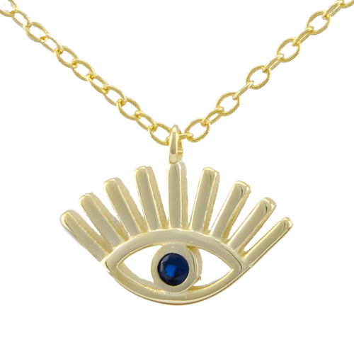 Evil Eye Necklace made of authentic 925 Sterling Silver plated with Gold