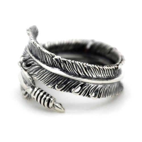 Silver Feather Ring made of 925 sterling silver
