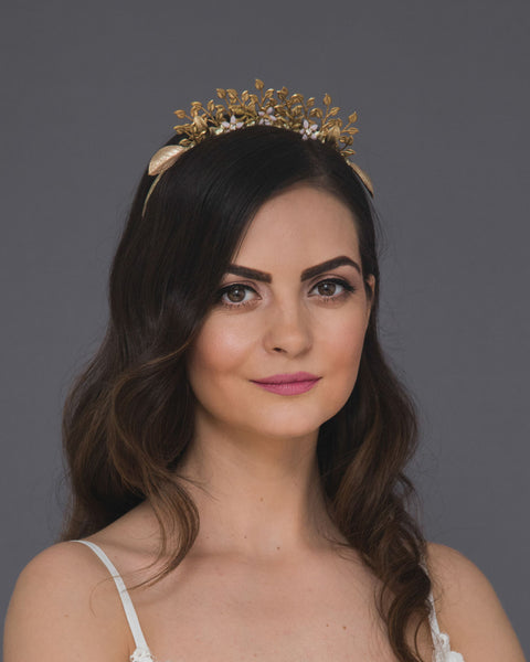 Woodland golden bridal crown adorned with vintage leaves, pale pink flowers and crystals