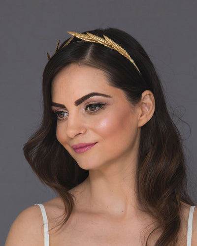 Roman wedding headband with gold statement laurel leaves