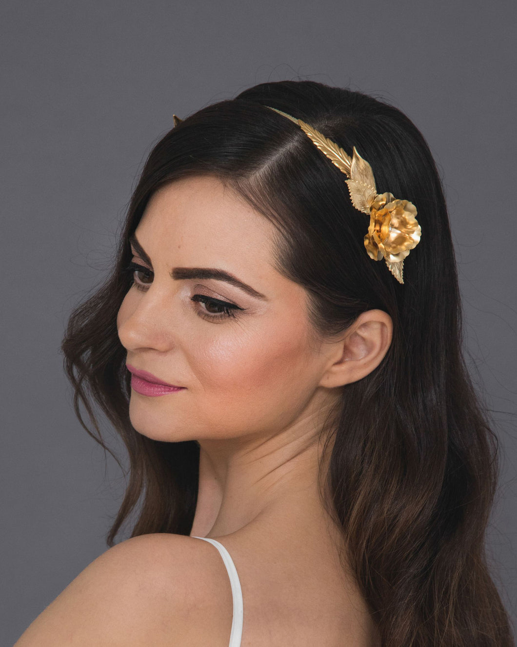 Romantic blossom floral crown with gold roses and leaves
