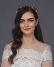 Gold laurel headband featuring lush leaves and ivory pearls