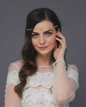 Woodland headband, a whimsical golden wedding tiara with delicate leaves and crystals