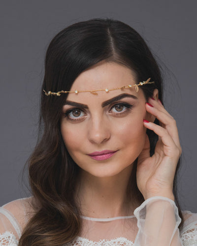 Versatile bridal forehead band with delicate gold leaves and crystals