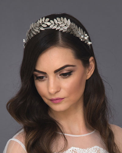 Grecian laurel headband, a statement crown featuring lush twigs, Swarovski pearls and crystals