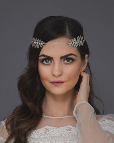 Greek laurel forehead headband featuring lush silver branches and dainty Swarovski pearls and crystals