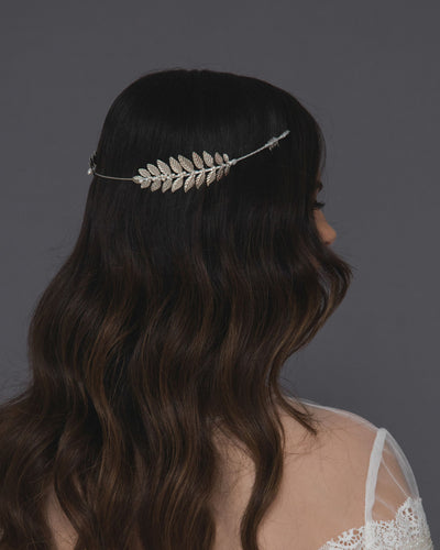 Reverse laurel pearl headband featuring lush silver branches and dainty Swarovski pearls and crystals
