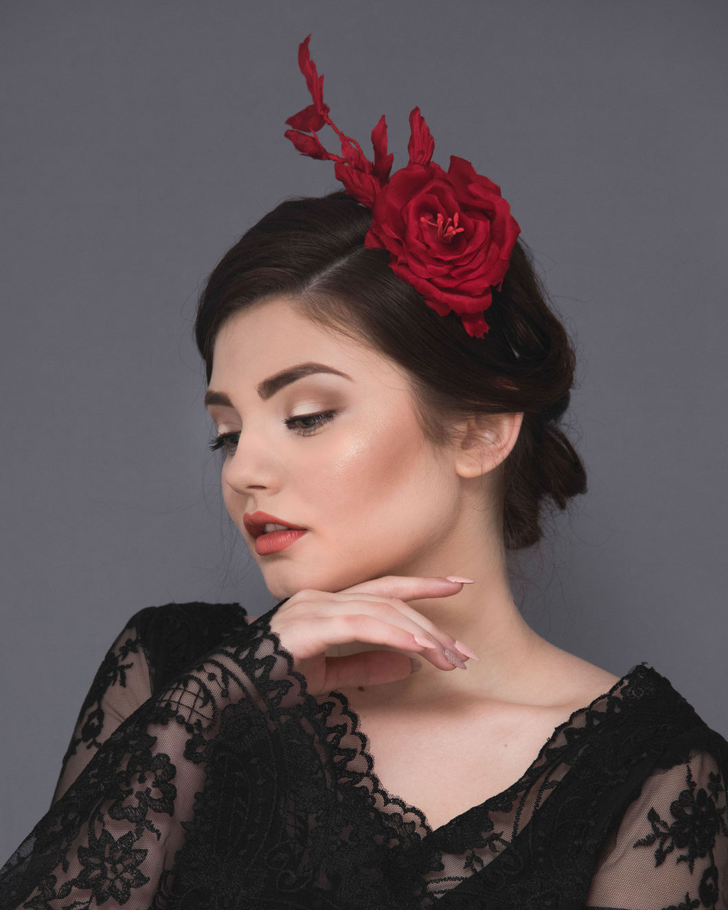 Elegant statement red silk rose rose fascinator, flower headband