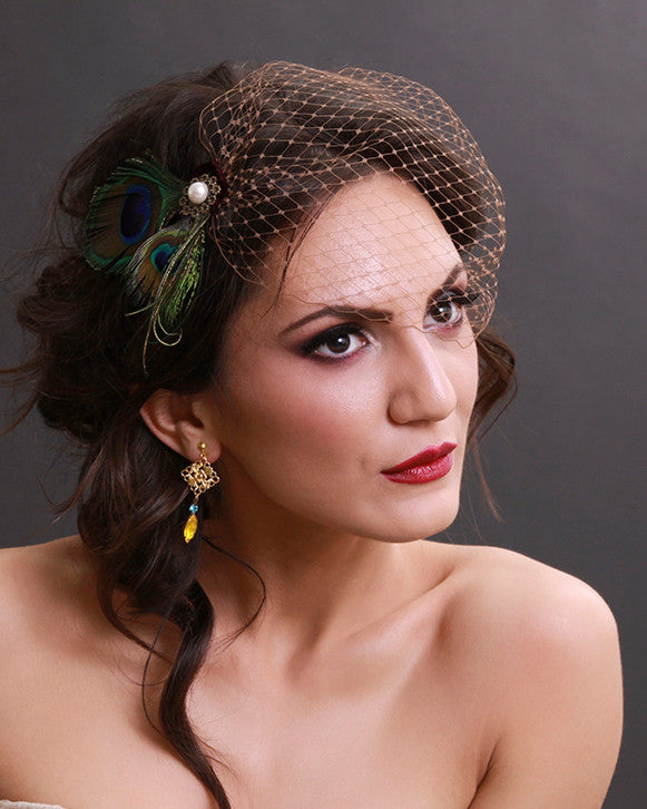 Peacock feather wedding hairpiece birdcage veil with brown french netting