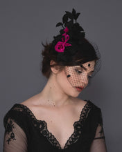 Dramatic lace birdcage veil fascinator with dotted black veil and fuchsia silk flowers
