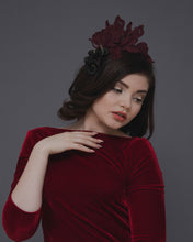 Statement lace fascinator headband featuring dramatic guipure lace flowers in burgundy shades