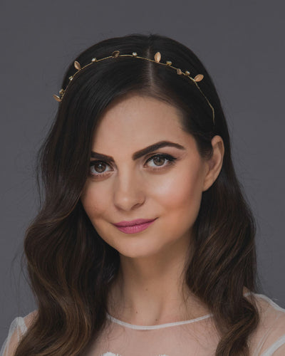 Woodland headband, a whimsical golden tiara with delicate leaves and crystals